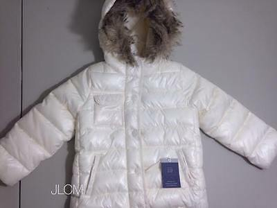 NWT $78 Girl baby GAP Ivory White Frost Puffer Faux Fur Hood Jacket Coat 5 Yrs