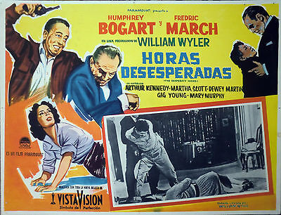 DESPERATE HOURS Mexican Lobby Card HUMPHREY BOGART FREDRIC MARCH CORPSE ON FLOOR