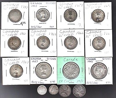 SILVER 80% $4.45 Face Canada 50¢ 25¢ 10¢ Average or Better