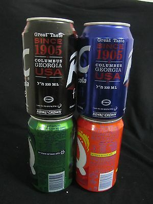 RC cola  ISRAEL : 4 X  330ml  empty cans,  israel, different years  and flavors.