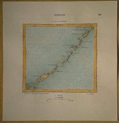 1882 Perron map KURIL ISLANDS, RUSSIA, disputed by Japan (#130)