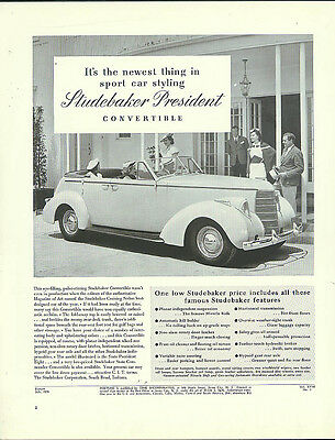 Newest in sports car styling Studebaker President Convertible Sedan ad 1938