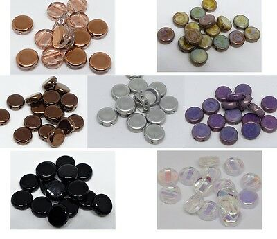 8(mm) TWO HOLE FLAT ROUND ROUND CZECH GLASS DISCS COINS SPACER BEADS - (20PCS)