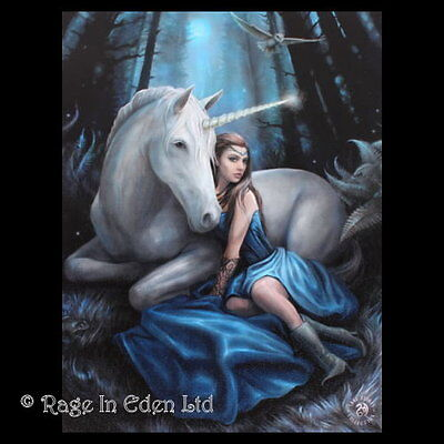 *BLUE MOON* Fantasy Unicorn Art 3D Picture By Anne Stokes (40x30cm approx)