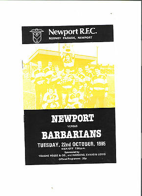 newport v barbarians rugby union programme 22/10/85