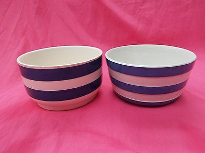 T G GREEN Vintage Blue & White Cornishware Small Bowl and One Other