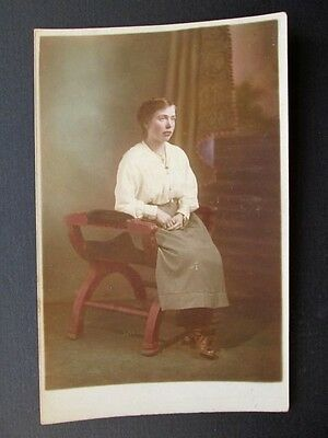 YOUNG LADY, FASHION DETAILS - HAND-COLOURED REAL PHOTO POSTCARD (1910s)