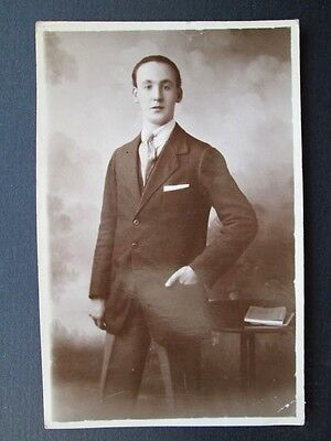 SMARTLY DRESSED YOUNG GENTLEMAN NAMED JOHN McLEAN - REAL PHOTO POSTCARD (1923)
