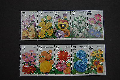 STAMPS USA.  GARDEN  FLOWERS  2X 32c, STRIPS  OF 5 FROM  BOOKLET,  1995.