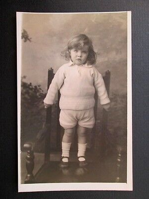 Gorgeous Little Boy, Sweet Knitted Outfit - Real Photo By Jerome (1933)