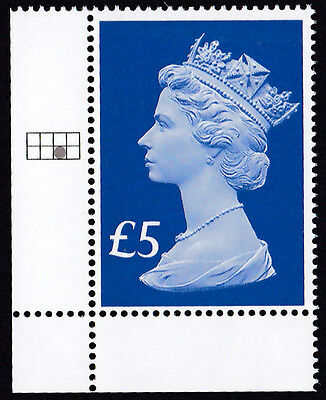 GB 2017 u/m £5 Accession Definitive Stamp - plate position in selvedge