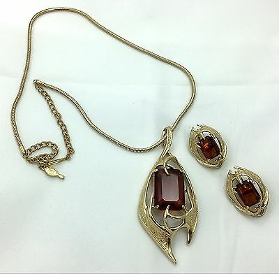 Vintage Sarah Coventry Molten Topaz Necklace And Earring Set