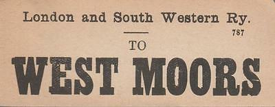 LSWR Railway Luggage Label WEST MOORS