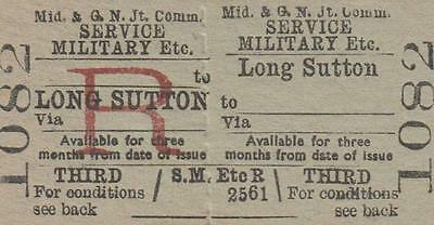 Midland & Great Northern JOINT Railway Ticket LONG SUTTON 1082
