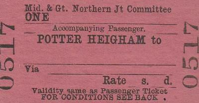 Midland & Great Northern JOINT Railway Ticket POTTER HEIGHAM 0517