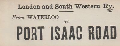 LSWR Railway Luggage Label PORT ISAAC ROAD (WATERLOO)