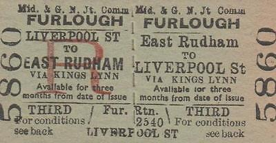 Midland & Great Northern JOINT Railway Ticket EAST RUDHAM 5860
