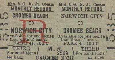Midland & Great Northern JOINT Railway Ticket NORWICH CITY 1535