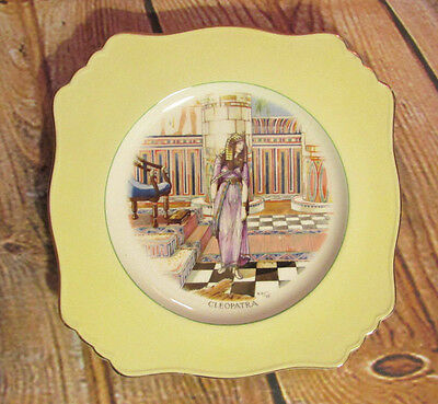 Vintage Grimwades Shakespeare Series Cleopatra Yellow Rimmed Plate c 1920s