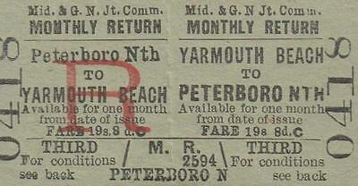 Midland & Great Northern JOINT Railway Ticket YARMOUTH BEACH 0418