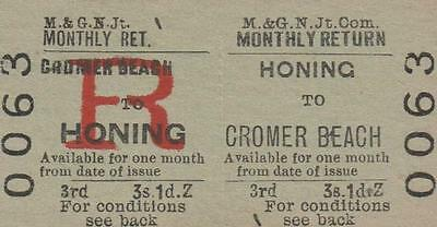 Midland & Great Northern JOINT Railway Ticket HONING 0063