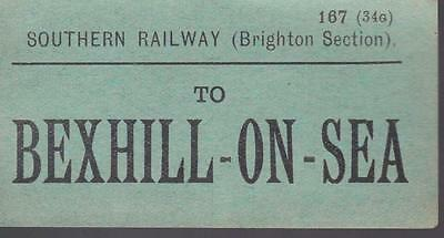 Southern Railway LBSC SECTION Luggage Label BEXHILL ON SEA