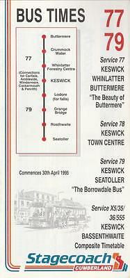 CUMBERLAND Route 77 Bus Timetable Lft APR 1995