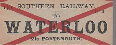Southern Railway Luggage Label WATERLOO VIA PORTSMOUTH (7/23)
