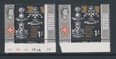 Malta - 1965/70, 1s stamp - With the Black Shifted by the Gold at top by Crown
