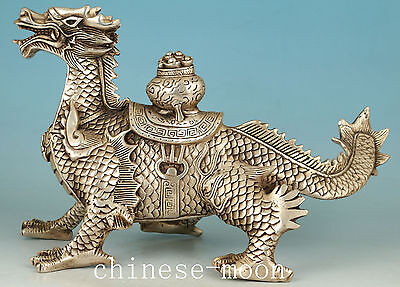 Big Chinese Old Copper Silver Plating evil Dragon Statue Good Figure