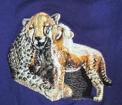 Embroidered Long-Sleeved T-Shirt - Cheetah and Cub BT3641