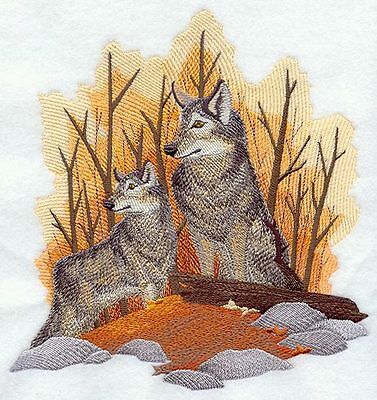 Embroidered Long-Sleeved T-Shirt - Autumn Wolf Pair D2258 Sizes S - XXL