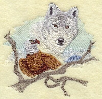 Embroidered Long-Sleeved T-Shirt - Wolf and Eagle E5024 Sizes S - XXL