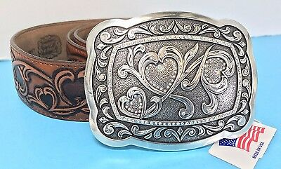 """NEW 42"""" TONY LAMA Mens Hearts Tooled Leather BELT Brown 1.5"""" Wide SILVER BUCKLE"""