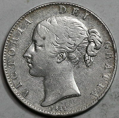 1844 Young Head Victoria Silver Crown GREAT BRITAIN Coin (16062401S)