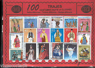 100 stamps different world in used @@ Theme : SUITS @@