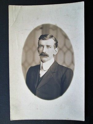 SMARTLY DRESSED GENTLEMAN, MOUSTACHE - RPPC BY NOVELTY STUDIO, PLYMOUTH (c1910)