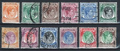 Singapore George VI selection  of definitive stamps.