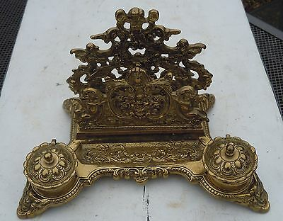 Victorian Style Ink Well Letter Rack Ornate Brass