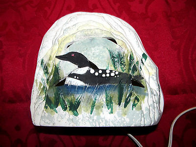 Rustic Cabin Ceramic Cut Out Slate Slab Painted LOON Bird Table Top Night Light