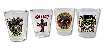 Guns N Roses Emblems Clear Glass Shot Glasses Set Of 4  New Nib Gnr Official