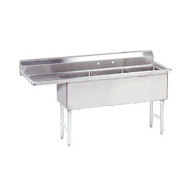 "Advance Tabco Economy 74.5"" x 23.75"" Triple Fabricated Bowl Scullery Sink"