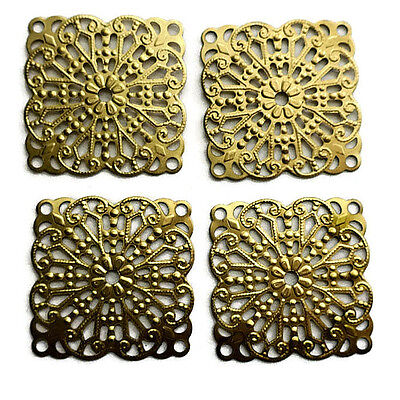 Vintage Filigree Square Findings Victorian Base Settings Antique Brass USA #978F