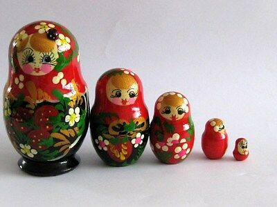 Set 5 Hand Painted Russian Nesting Dolls Special One  With Ladybird!