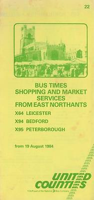 UNITED COUNTIES Bus Timetable Lft 22 DATED AUG 1984