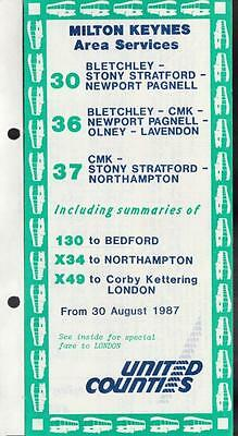 UNITED COUNTIES Route 30 Bus Timetable Lft AUG 1987