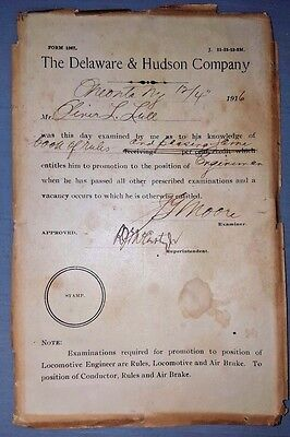 1916 DELAWARE&HUDSON CO D&H EMPLOYEE ENGINEMAN Appointment Certificate Railroad
