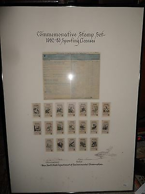 Framed 1982-83 NYS  Comemmorative Sporting License Stamps First/500 Wayne Trimm