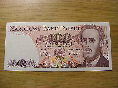 A 1988 Poland 100 Zlotych Banknote -  UNC  very crisp