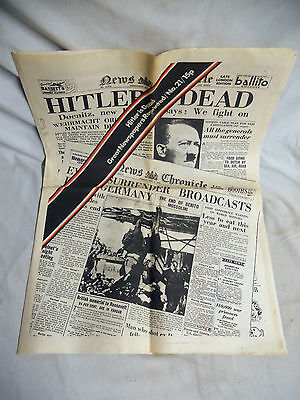 VINTAGE Great Newspapers Reprinted HITLER IS DEAD News Chronicle 1945 WWII